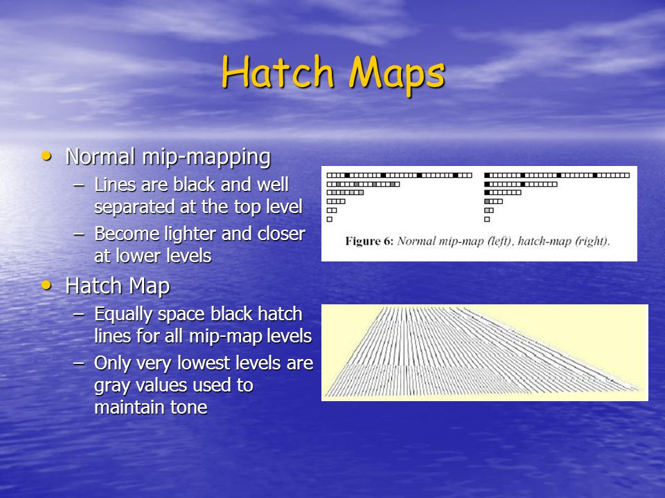 Hatch Maps Normal mip-mapping Normal mip-mapping –Lines are black and well separated at the top level –Become lighter and closer at lower levels Hatch Map Hatch Map –Equally space black hatch lines for all mip-map levels –Only very lowest levels are gray values used to maintain tone