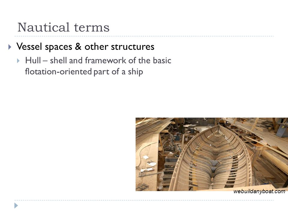 Nautical terms  Vessel spaces & other structures  Hull – shell and framework of the basic flotation-oriented part of a ship  Bilge – interior of the hull  Deck – permanent covering over a compartment or hull  Hatch – an opening in a boat's deck