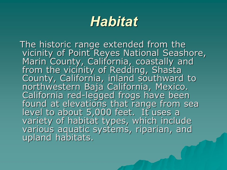 Habitat The historic range extended from the vicinity of Point Reyes National Seashore, Marin County, California, coastally and from the vicinity of Redding, Shasta County, California, inland southward to northwestern Baja California, Mexico.