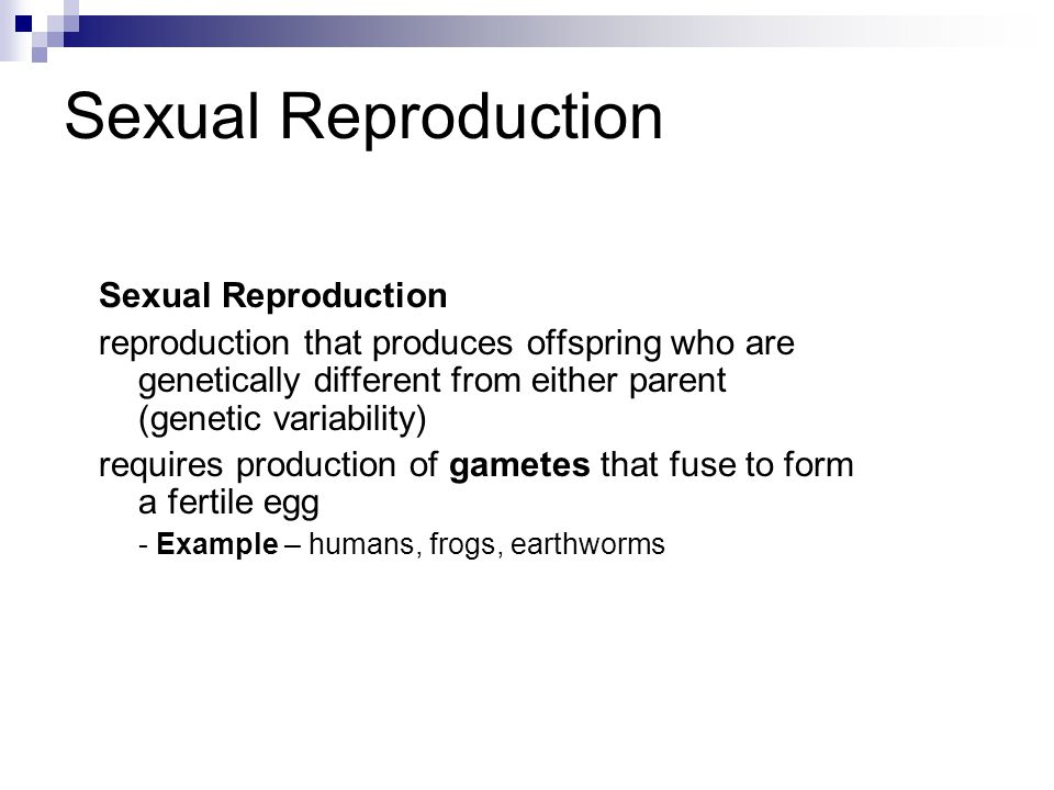 Sexual Reproduction reproduction that produces offspring who are genetically different from either parent (genetic variability) requires production of gametes that fuse to form a fertile egg - Example – humans, frogs, earthworms