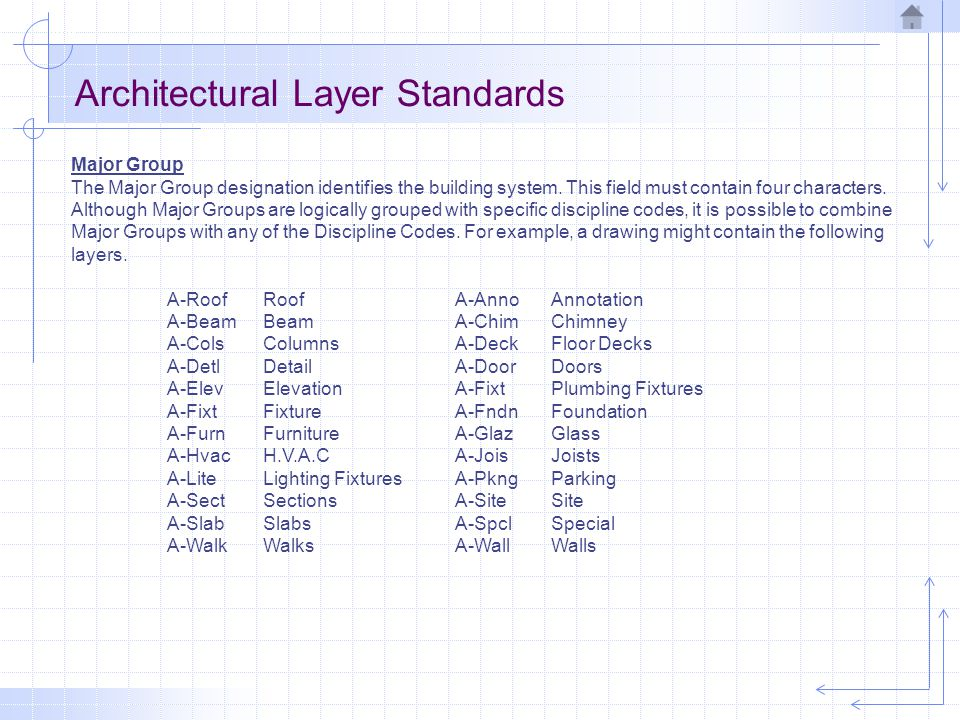 Architectural Layer Standards Major Group The Major Group designation identifies the building system.