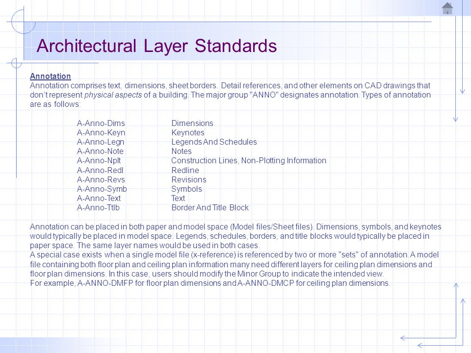 Architectural Layer Standards User-Definable Fields The Minor Group field can be defined by the user, allowing additional layers to be added to accommodate special project requirements.