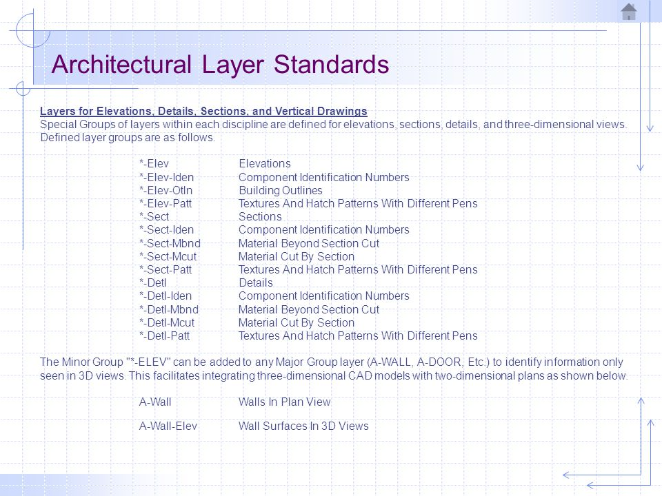 Architectural Layer Standards Layers for Elevations, Details, Sections, and Vertical Drawings Special Groups of layers within each discipline are defined for elevations, sections, details, and three-dimensional views.