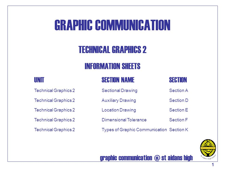 graphic communication @ st aidans high 2 ORTHOGRAHIC PROJECTION – SECTIONAL VIEWS Cutting planes should be indicated by long chain lines, thickened at the ends and at changes of direction, thin lines elsewhere, and should be designated by capital letters.