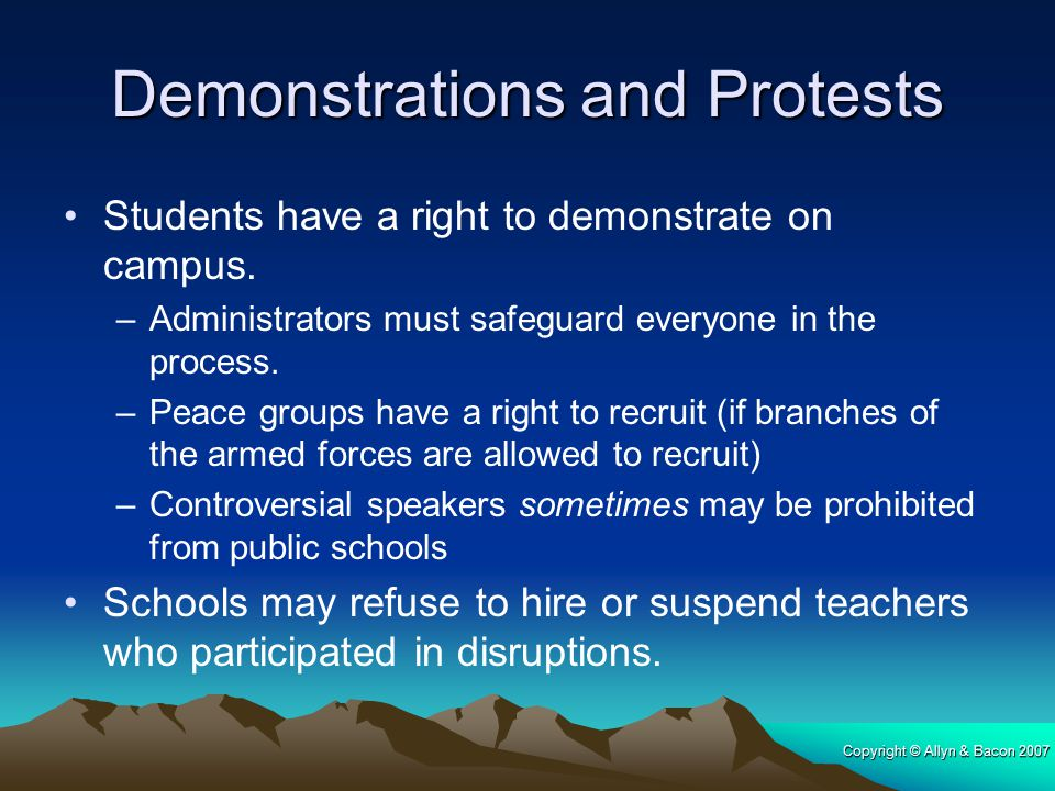 Copyright © Allyn & Bacon 2007 Demonstrations and Protests Students have a right to demonstrate on campus. –Administrators must safeguard everyone in
