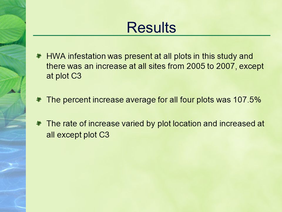 Results HWA infestation was present at all plots in this study and there was an increase at all sites from 2005 to 2007, except at plot C3 The percent increase average for all four plots was 107.5% The rate of increase varied by plot location and increased at all except plot C3