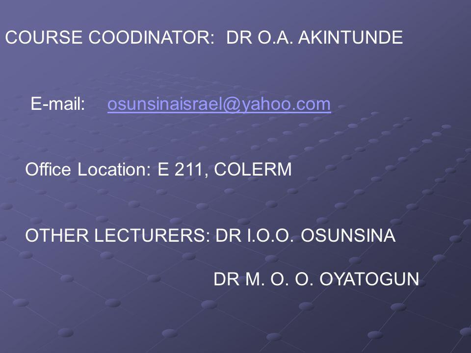 COURSE COODINATOR: DR O.A.