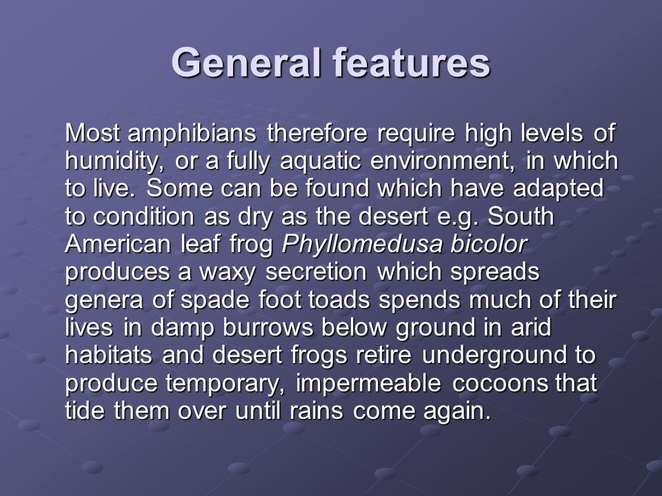 General features Most amphibians therefore require high levels of humidity, or a fully aquatic environment, in which to live. Some can be found which