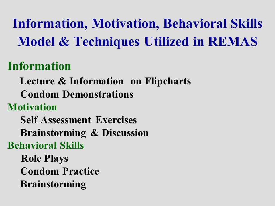 Information, Motivation, Behavioral Skills Model & Techniques Utilized in REMAS Information Lecture & Information on Flipcharts Condom Demonstrations Motivation Self Assessment Exercises Brainstorming & Discussion Behavioral Skills Role Plays Condom Practice Brainstorming