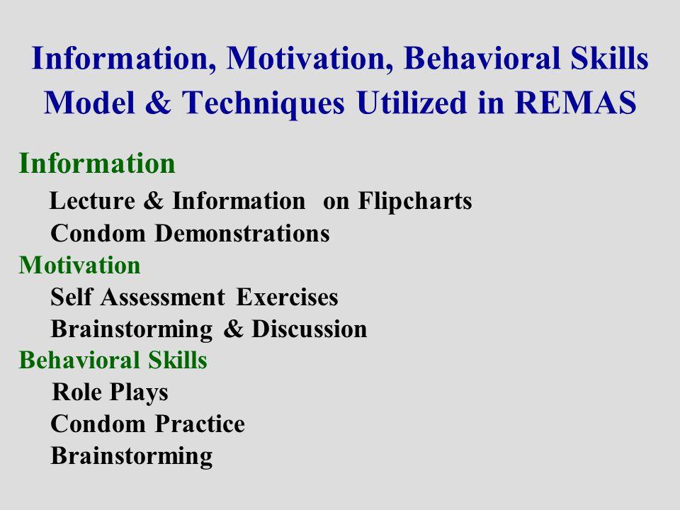 Information, Motivation, Behavioral Skills Model & Techniques Utilized in REMAS Information Lecture & Information on Flipcharts Condom Demonstrations