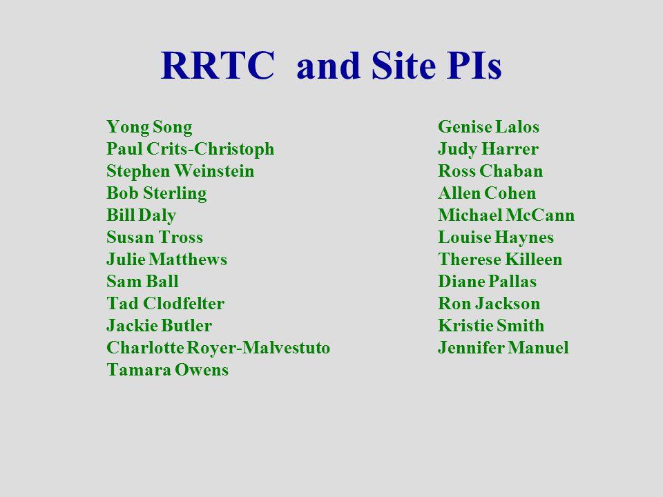 RRTC and Site PIs Yong SongGenise Lalos Paul Crits-ChristophJudy Harrer Stephen WeinsteinRoss Chaban Bob SterlingAllen Cohen Bill DalyMichael McCann S