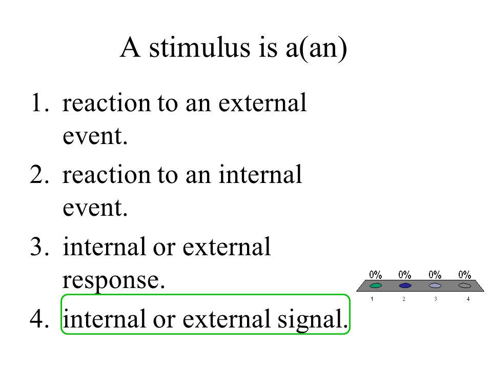 A stimulus is a(an) 1.reaction to an external event. 2.reaction to an internal event. 3.internal or external response. 4.internal or external signal.