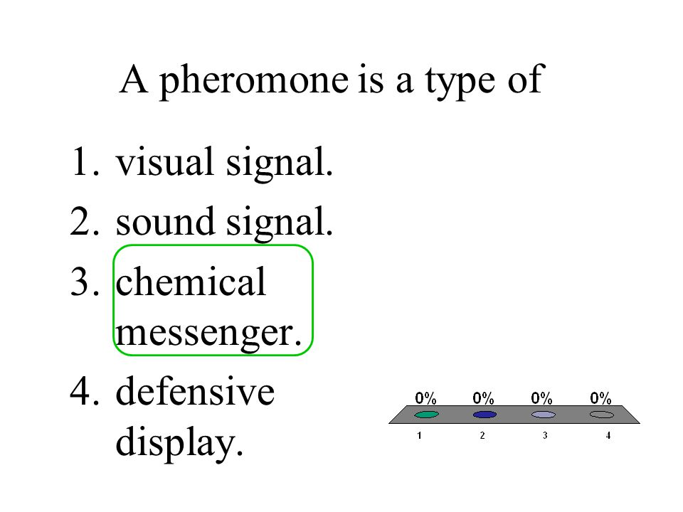 A pheromone is a type of 1.visual signal. 2.sound signal. 3.chemical messenger. 4.defensive display.