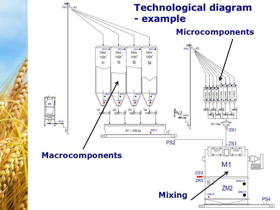 Technological diagram - example Macrocomponents Microcomponents Mixing