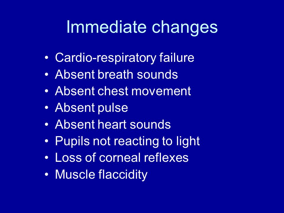 Early Changes Rigor mortis Chemical reaction – Decrease in ATP and an increase in ADP + LACTIC ACID Onset smaller muscles first – jaw (1- 4hours), then arms and finally legs (4- 6hours) Temperature dependent