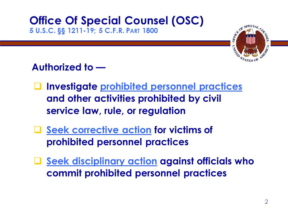 12 Catchall Prohibited Personnel Practice Taking or failing to take personnel action, in violation of a law, rule, or regulation that implements or directly concerns a merit system principle 5 U.S.C.