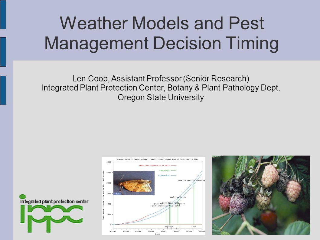 Spotts et al.Pear Scab model (example generic degree- hour infection risk model): 1.