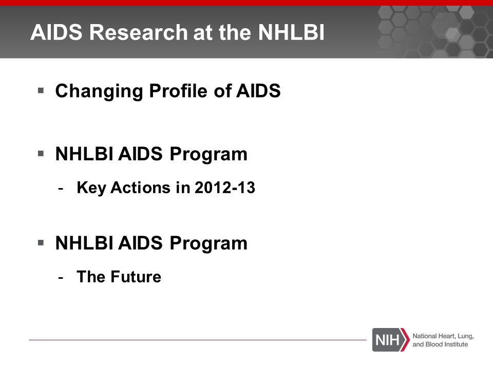 AIDS Research at the NHLBI  Changing Profile of AIDS  NHLBI AIDS Program -Key Actions in 2012-13  NHLBI AIDS Program -The Future