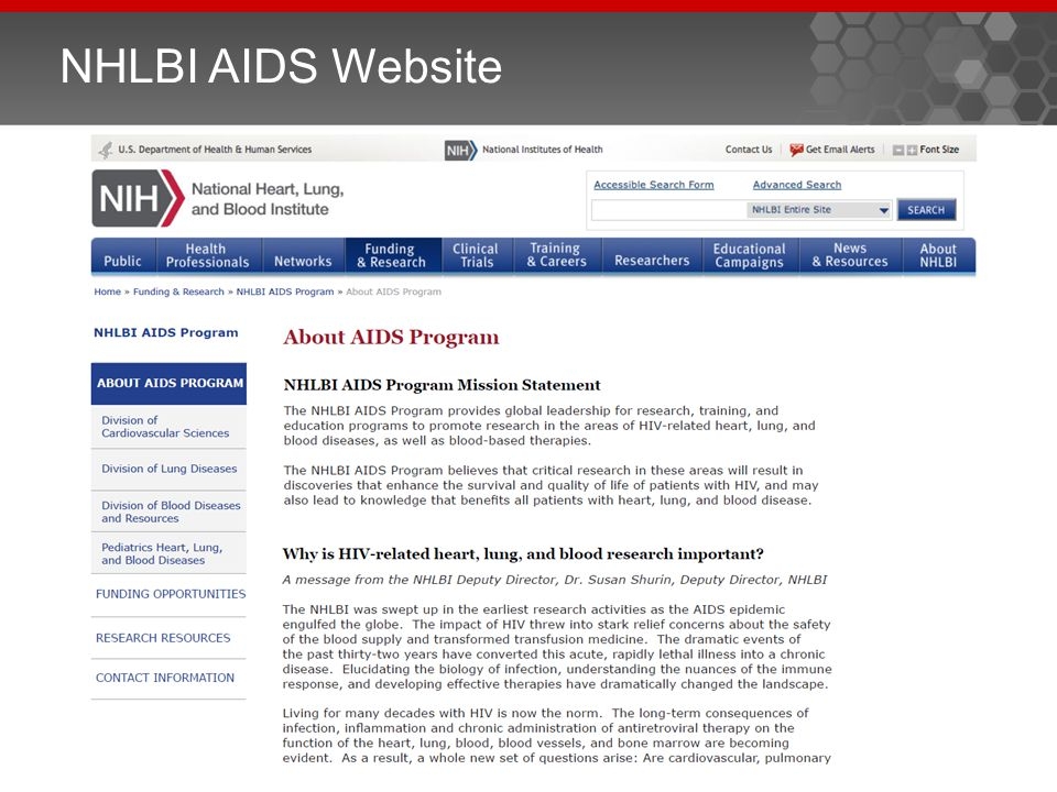 NHLBI AIDS Website