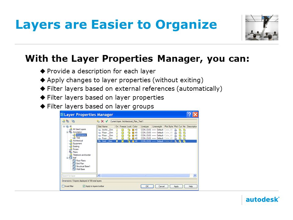 Layers are Easier to Organize With the Layer Properties Manager, you can: uProvide a description for each layer uApply changes to layer properties (without exiting) uFilter layers based on external references (automatically) uFilter layers based on layer properties uFilter layers based on layer groups