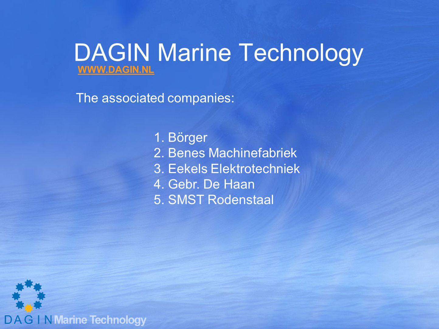 DAGIN Marine Technology In 2008: >600 employees Turnover : >100 mill. Euro WWW.DAGIN.NL