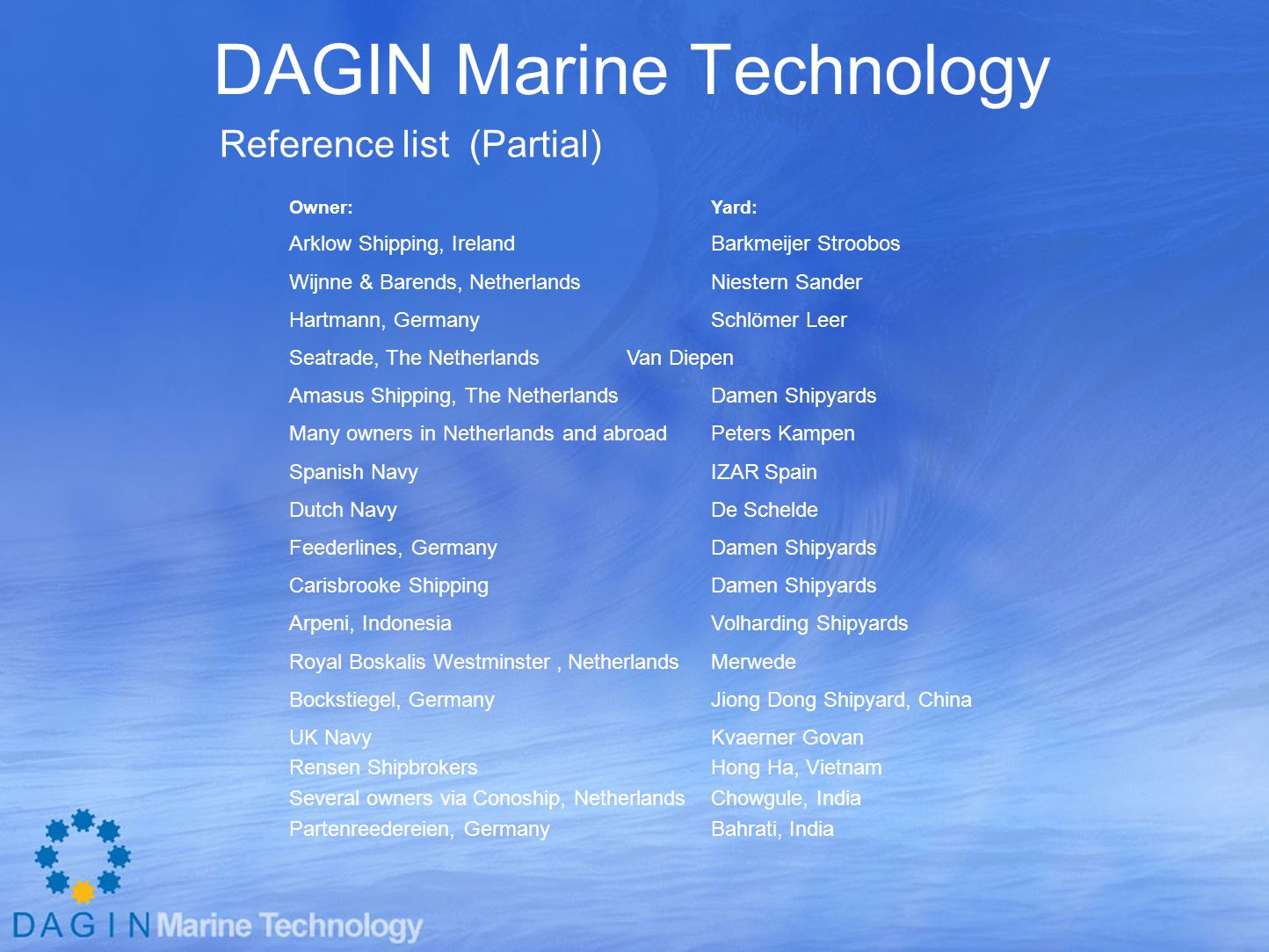 DAGIN Marine Technology Reference list (Partial) Owner:Yard: Arklow Shipping, IrelandBarkmeijer Stroobos Wijnne & Barends, NetherlandsNiestern Sander Hartmann, GermanySchlömer Leer Seatrade, The NetherlandsVan Diepen Amasus Shipping, The NetherlandsDamen Shipyards Many owners in Netherlands and abroadPeters Kampen Spanish NavyIZAR Spain Dutch NavyDe Schelde Feederlines, GermanyDamen Shipyards Carisbrooke ShippingDamen Shipyards Arpeni, IndonesiaVolharding Shipyards Royal Boskalis Westminster, Netherlands Merwede Bockstiegel, GermanyJiong Dong Shipyard, China UK NavyKvaerner Govan Rensen ShipbrokersHong Ha, Vietnam Several owners via Conoship, NetherlandsChowgule, India Partenreedereien, GermanyBahrati, India