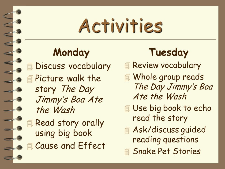 Activities Monday 4 Discuss vocabulary 4 Picture walk the story The Day Jimmy's Boa Ate the Wash 4 Read story orally using big book 4 Cause and Effect