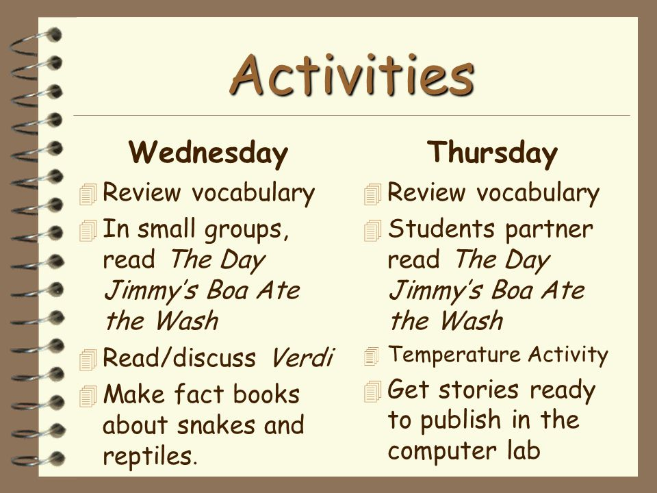Activities Wednesday 4 Review vocabulary 4 In small groups, read The Day Jimmy's Boa Ate the Wash 4 Read/discuss Verdi  Make fact books about snakes