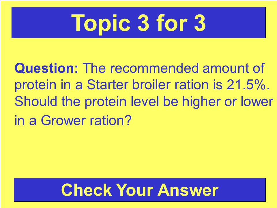 Question: The recommended amount of protein in a Starter broiler ration is 21.5%.