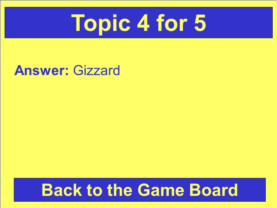 Answer: Gizzard Back to the Game Board Topic 4 for 5