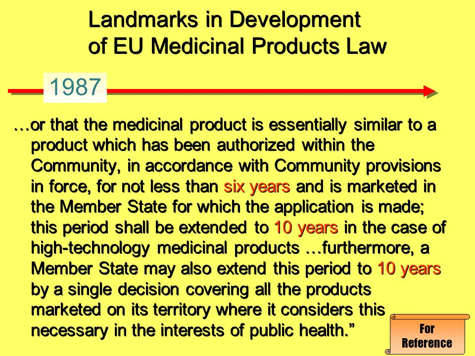 Landmarks in Development of EU Medicinal Products Law …or that the medicinal product is essentially similar to a product which has been authorized wit