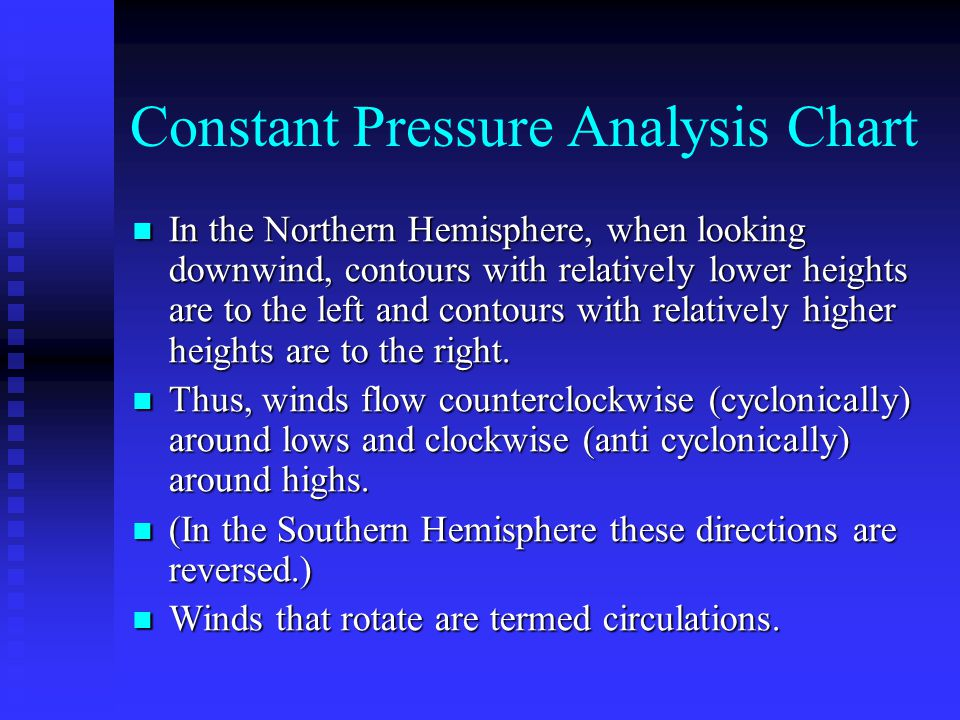 Constant Pressure Analysis Chart In the Northern Hemisphere, when looking downwind, contours with relatively lower heights are to the left and contour