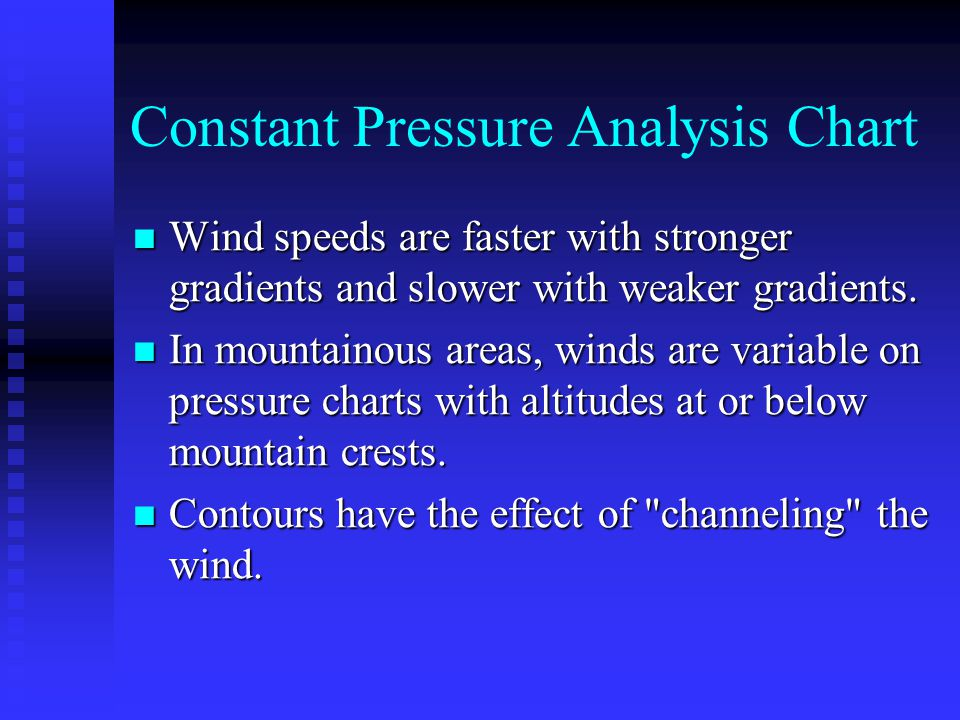 Constant Pressure Analysis Chart Wind speeds are faster with stronger gradients and slower with weaker gradients. Wind speeds are faster with stronger