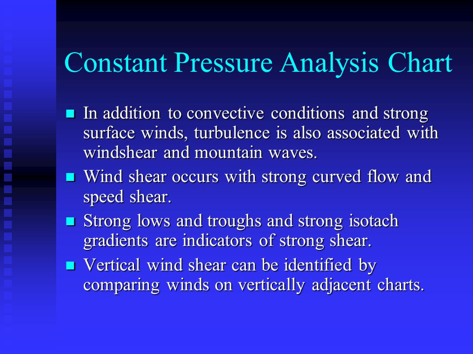 Constant Pressure Analysis Chart In addition to convective conditions and strong surface winds, turbulence is also associated with windshear and mountain waves.