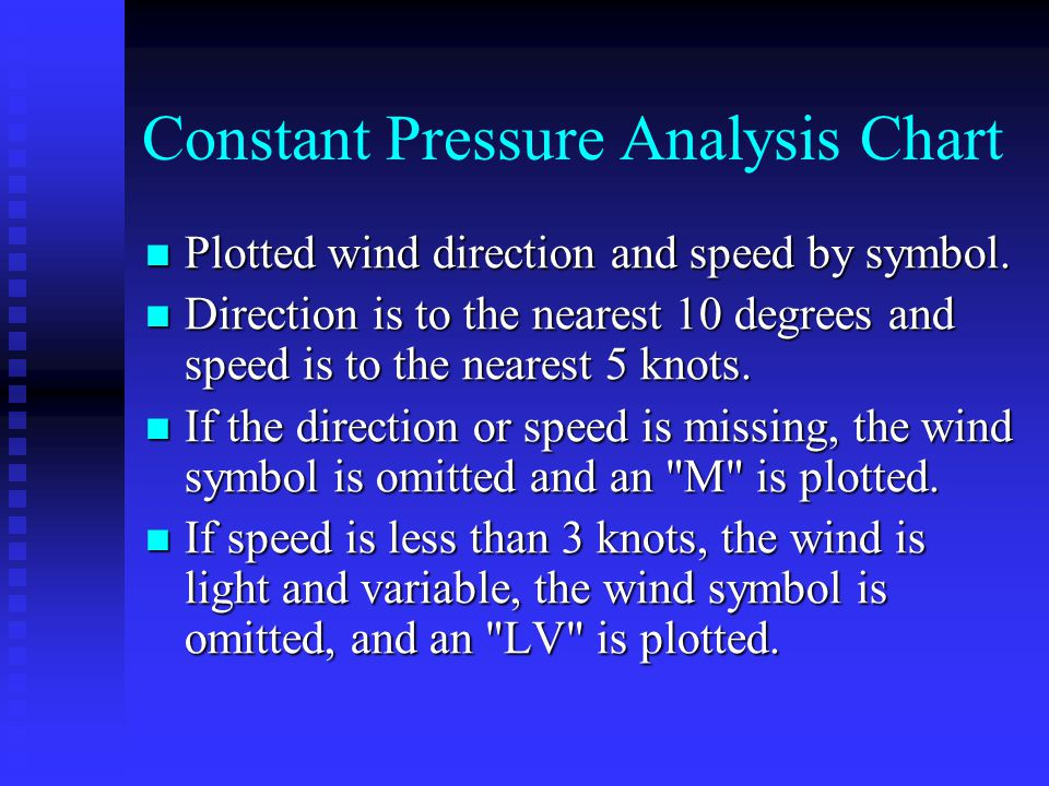 Constant Pressure Analysis Chart Plotted wind direction and speed by symbol. Plotted wind direction and speed by symbol. Direction is to the nearest 1