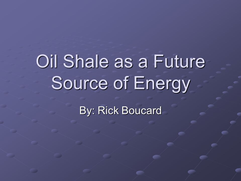 What is Oil Shale.