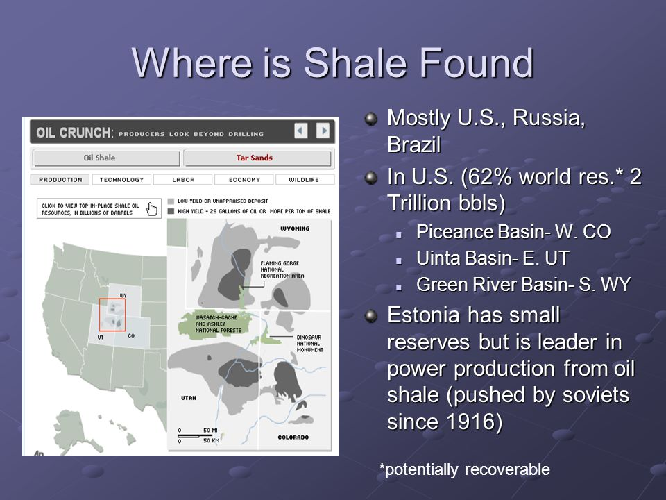 Where is Shale Found Mostly U.S., Russia, Brazil In U.S.