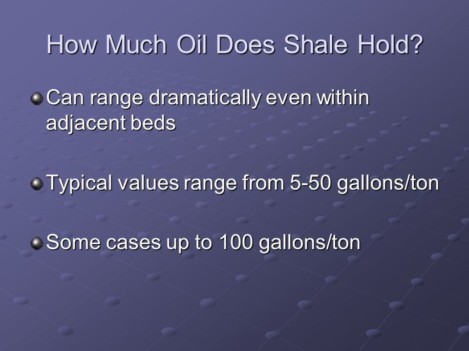 How Much Oil Does Shale Hold.