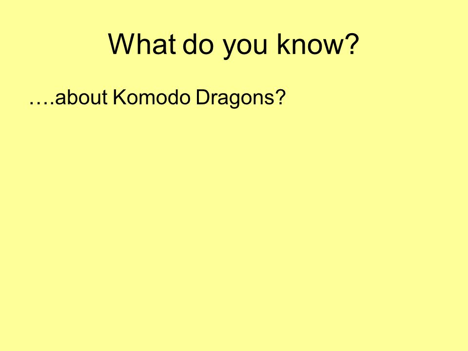 What do you know? ….about Komodo Dragons?