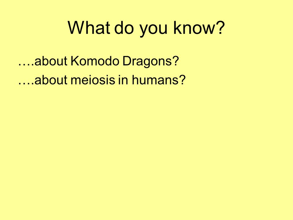 What do you know? ….about Komodo Dragons? ….about meiosis in humans?