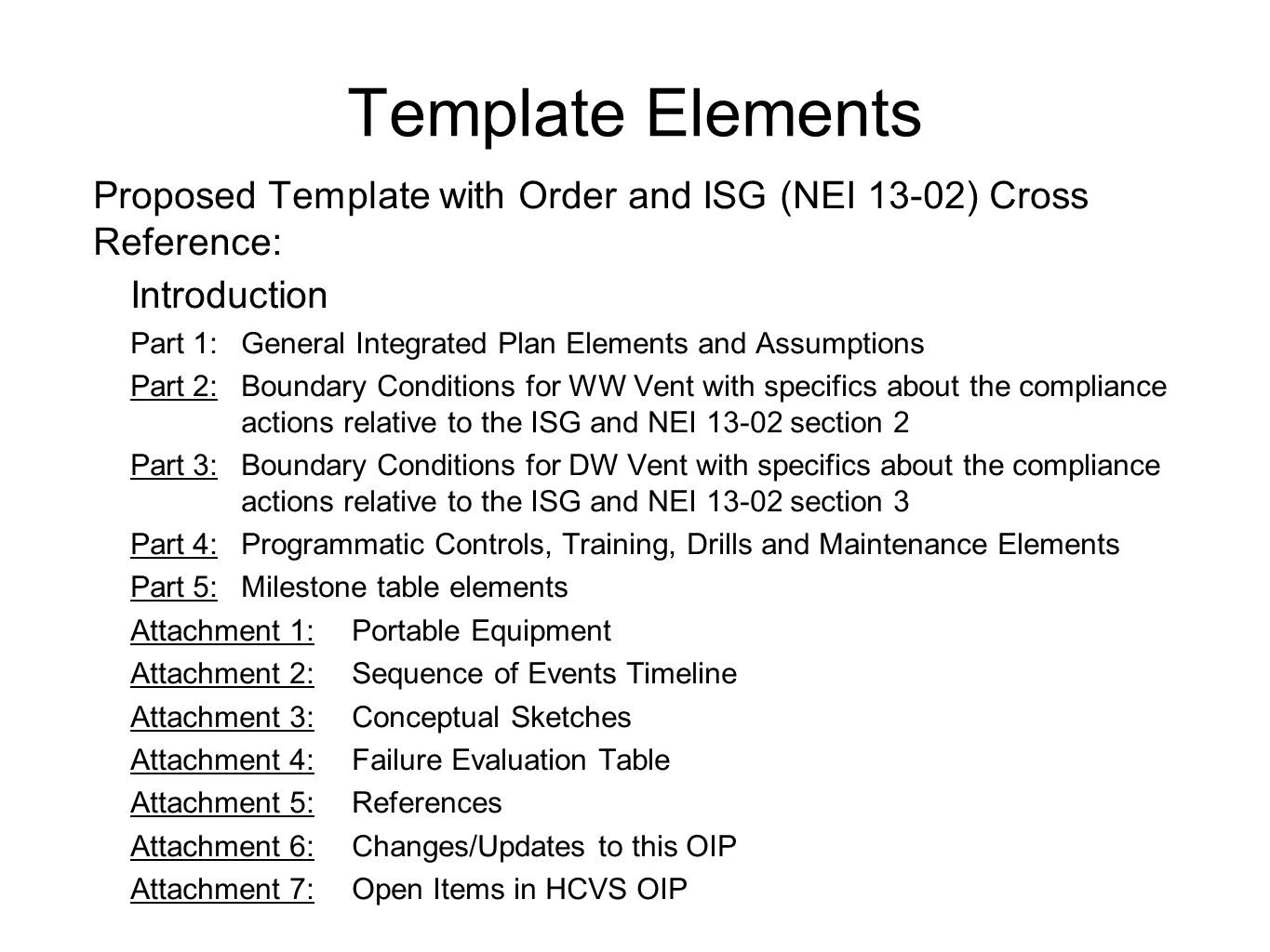 Template Elements Proposed Template with Order and ISG (NEI 13-02) Cross Reference: Introduction Part 1:General Integrated Plan Elements and Assumptio
