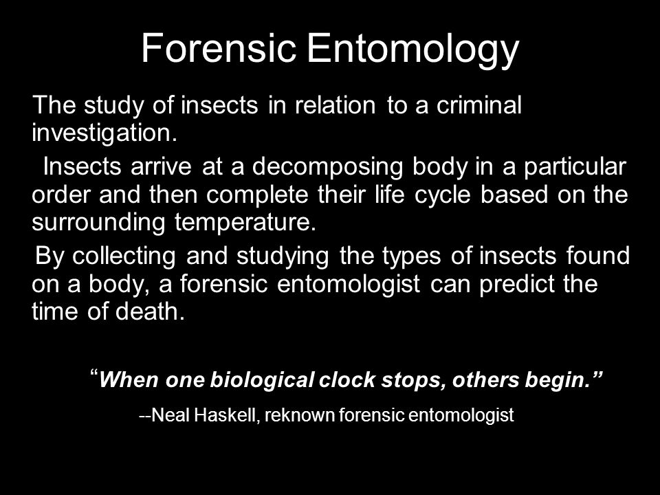 Forensic Entomology The study of insects in relation to a criminal investigation. Insects arrive at a decomposing body in a particular order and then