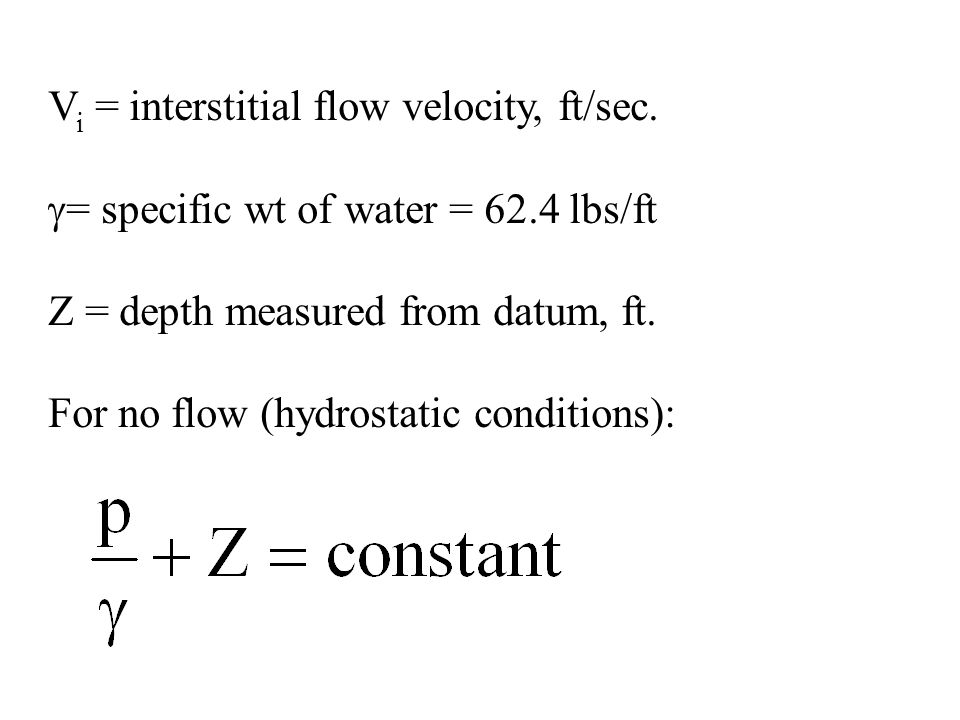 V i = interstitial flow velocity, ft/sec.  = specific wt of water = 62.4 lbs/ft Z = depth measured from datum, ft. For no flow (hydrostatic condition