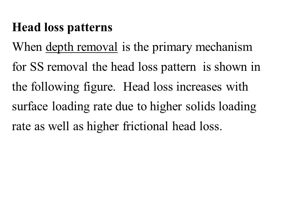 Head loss patterns When depth removal is the primary mechanism for SS removal the head loss pattern is shown in the following figure. Head loss increa