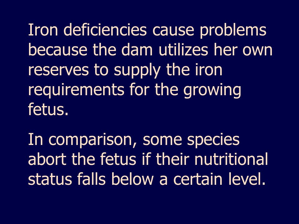 Iron deficiencies cause problems because the dam utilizes her own reserves to supply the iron requirements for the growing fetus. In comparison, some