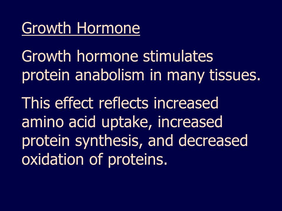 Growth Hormone Growth hormone stimulates protein anabolism in many tissues.