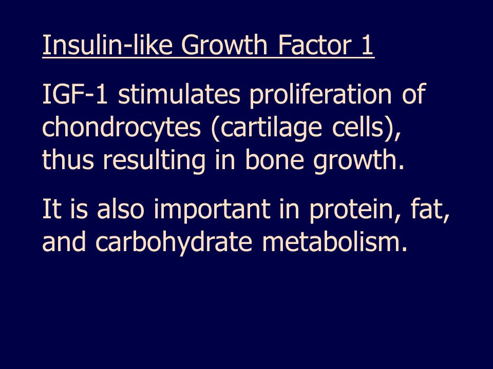 Insulin-like Growth Factor 1 IGF-1 stimulates proliferation of chondrocytes (cartilage cells), thus resulting in bone growth.
