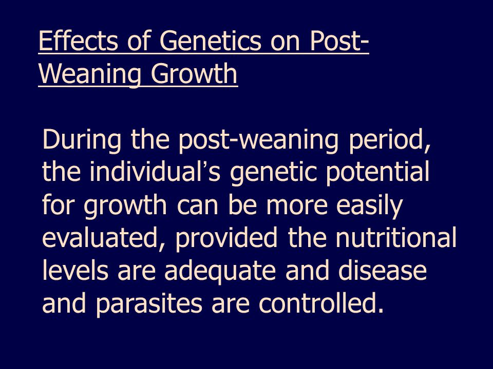 Effects of Genetics on Post- Weaning Growth During the post-weaning period, the individual ' s genetic potential for growth can be more easily evaluated, provided the nutritional levels are adequate and disease and parasites are controlled.