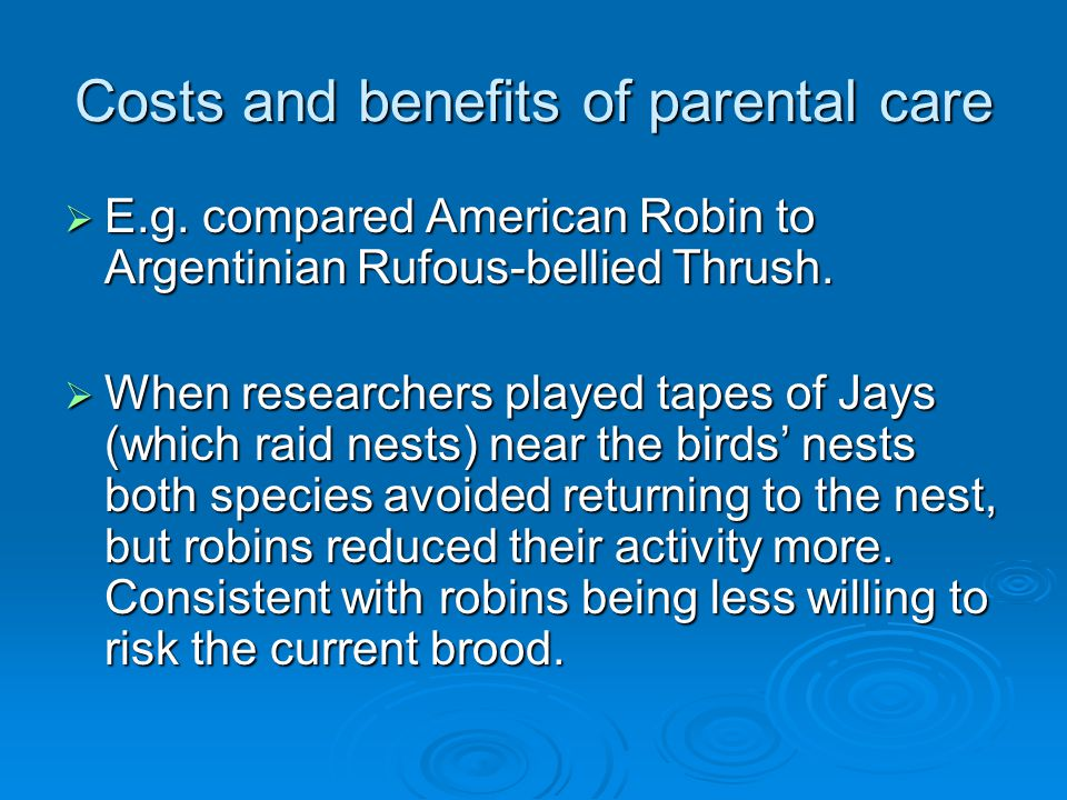 Costs and benefits of parental care  E.g.