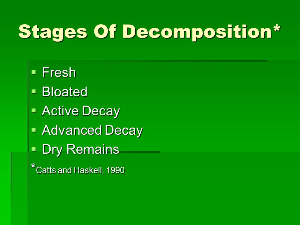 Stages Of Decomposition*  Fresh  Bloated  Active Decay  Advanced Decay  Dry Remains * Catts and Haskell, 1990